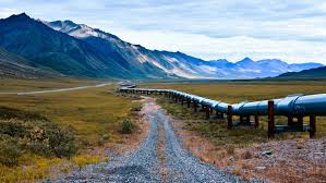 The Alaskan Pipeline cuts through the Alaskan Wildlife Refuge.